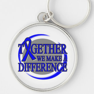 Rectal Cancer Together We  Make A Difference Silver-Colored Round Keychain