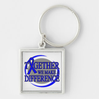 Rectal Cancer Together We  Make A Difference Silver-Colored Square Keychain