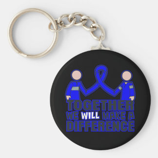 Rectal Cancer Together We Will Make A Difference.p Basic Round Button Keychain