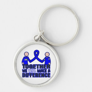 Rectal Cancer Together We Will Make A Difference.p Silver-Colored Round Keychain