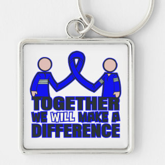 Rectal Cancer Together We Will Make A Difference.p Silver-Colored Square Keychain