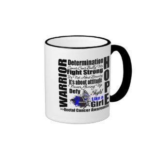 Rectal Cancer Warrior Fight Slogans Coffee Mugs