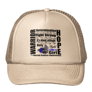 Rectal Cancer Warrior Fight Slogans Mesh Hats