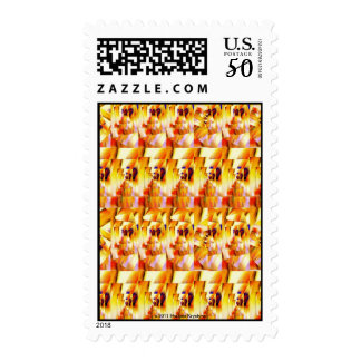 RECTANGLE ABSTRACT IN ORANGE YELLOW BLACK & WHITE POSTAGE