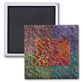 Rectangle Abstract Pieces in 5 Colors 2 Inch Square Magnet