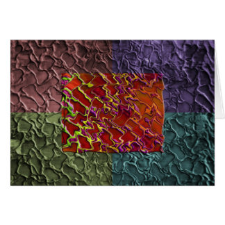 Rectangle Abstract Pieces in 5 Colors Greeting Card