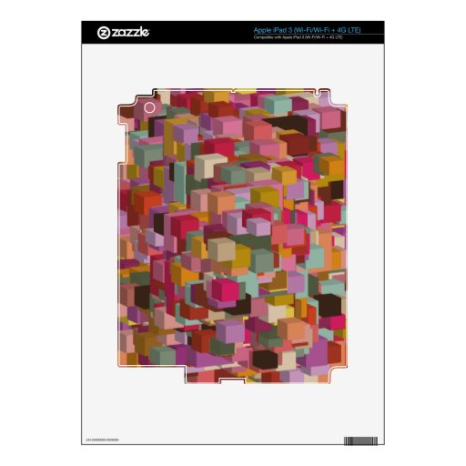 Rectangle Block And Stripe Design In Multicolore Decal For iPad 3