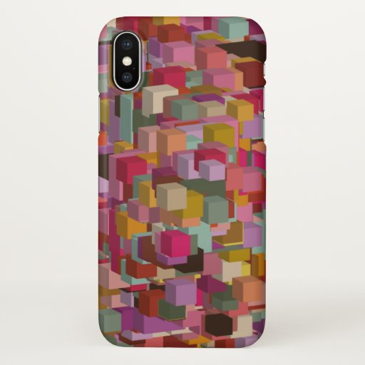 Rectangle Block And Stripe Design In Multicolore iPhone X Case