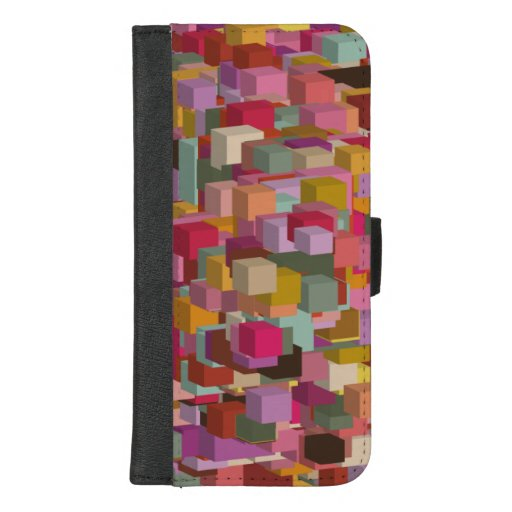 Rectangle Block And Stripe Design In Multicolore iPhone 8/7 Plus Wallet Case