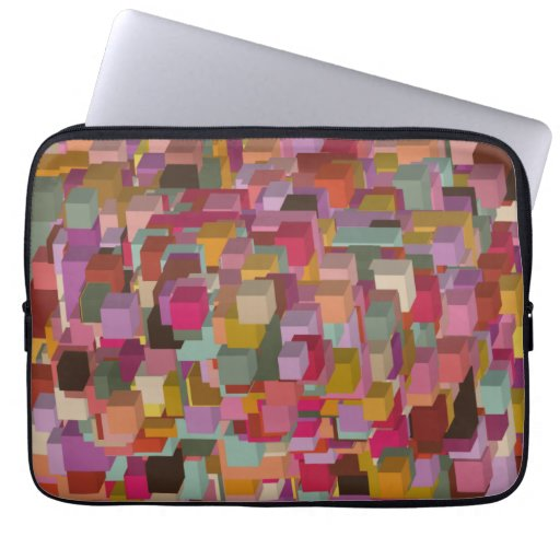 Rectangle Block And Stripe Design In Multicolore Laptop Sleeve