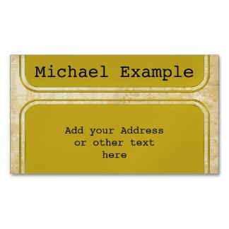 Rectangle Button gold + your backg. & ideas Business Card Magnet