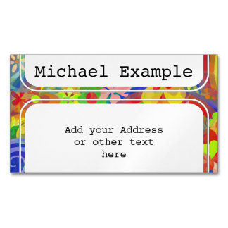 Rectangle Button white + your backg. & ideas Magnetic Business Cards