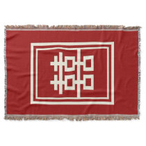 Rectangle Double Happiness Chinese Wedding Throw