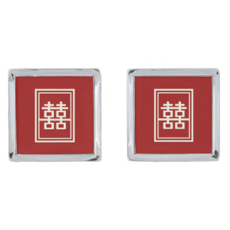 Rectangle Double Happiness Classic Chinese Wedding Silver Cufflinks