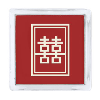 Rectangle Double Happiness Red Chinese Wedding Silver Finish Lapel Pin