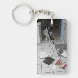 Rectangle (double-sided) Keychain Siberian Husky