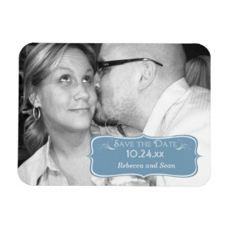 Rectangle Dusk Blue Save The Date Photo Magnet