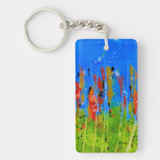 Rectangle Keychain with splashed-colors
