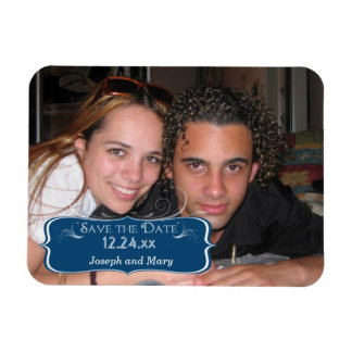Rectangle Monaco Blue Save The Date Photo Magnet