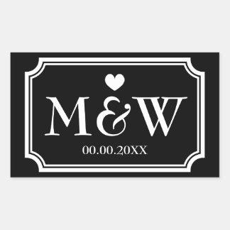 Rectangle monogram wedding favor stickers seals