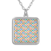 rectangle pattern silver plated necklace