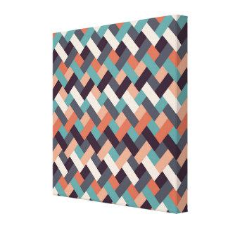 Rectangle Retro Zig Zag Design Stretched Canvas Print