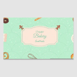 rectangle shape delightful bakery rectangular sticker