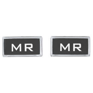 Rectangle shape personalized monogram cufflinks