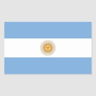 Rectangle sticker with Flag of  Argentina