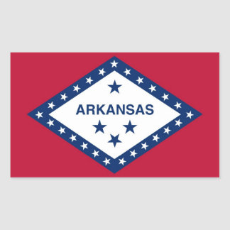 Rectangle sticker with Flag of Arkansas, U.S.A.