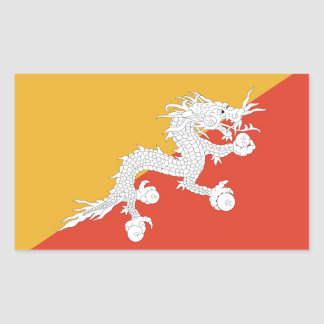 Rectangle sticker with Flag of Bhutan