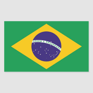Rectangle sticker with Flag of Brazil