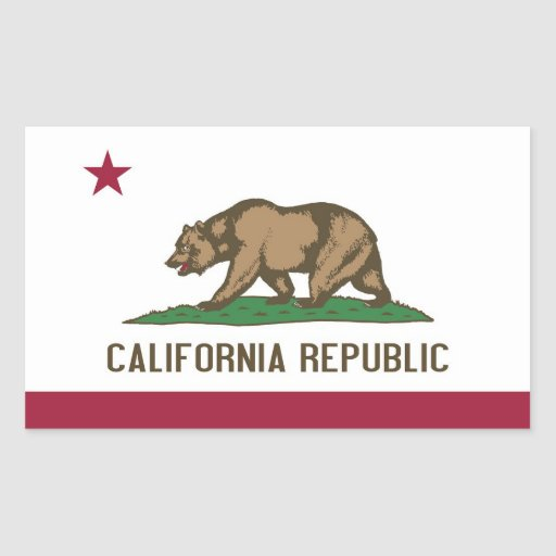Rectangle sticker with Flag of California, U.S.A.