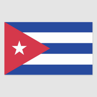 Rectangle sticker with Flag of Cuba