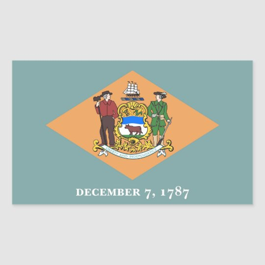 Rectangle sticker with Flag of Delaware, U.S.A.