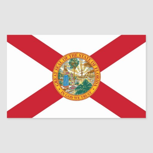 Rectangle sticker with Flag of Florida, U.S.A.