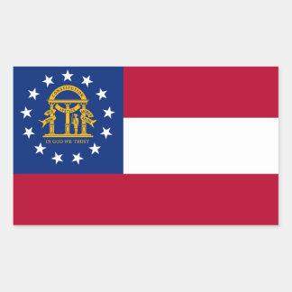 Rectangle sticker with Flag of Georgia, U.S.A.