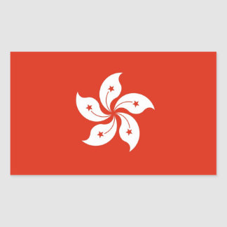Rectangle sticker with Flag of Hong Kong, China
