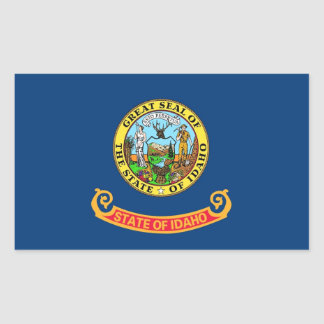 Rectangle sticker with Flag of Idaho, U.S.A.