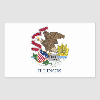 Rectangle sticker with Flag of Illinois, U.S.A.
