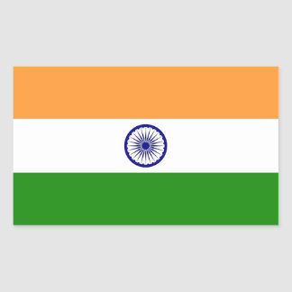 Rectangle sticker with Flag of India