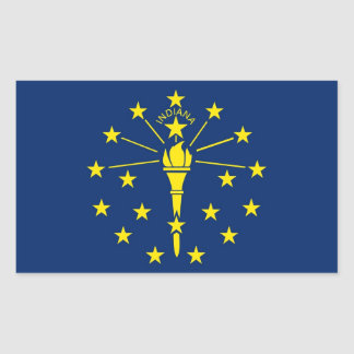 Rectangle sticker with Flag of Indiana, U.S.A.