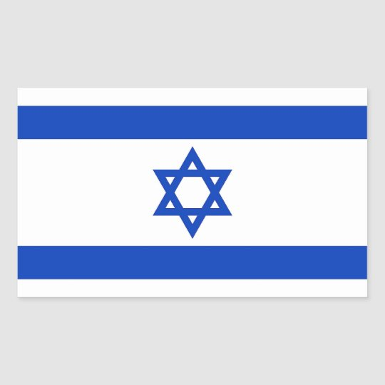 Rectangle sticker with Flag of Israel