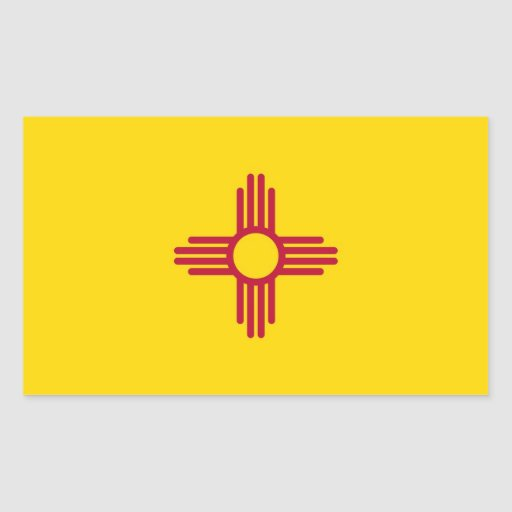 Rectangle sticker with Flag of New Mexico, U.S.A.