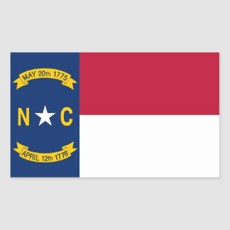 Rectangle sticker with Flag of North Carolina