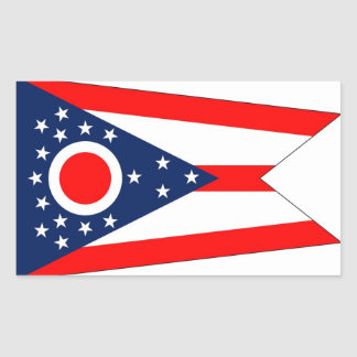 Rectangle sticker with Flag of Ohio, U.S.A.