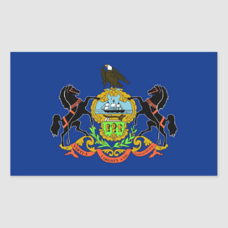 Rectangle sticker with Flag of Pennsylvania