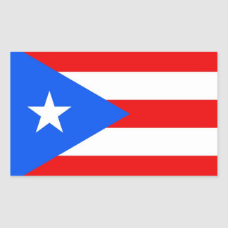 Rectangle sticker with Flag of Puerto Rico, U.S.A.