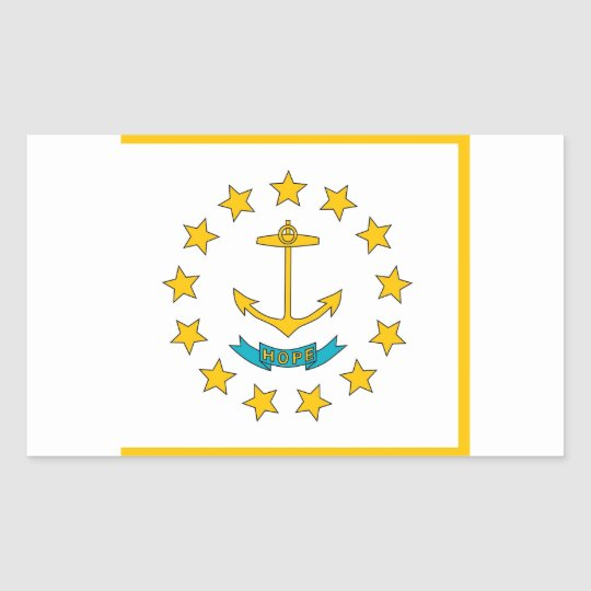 Rectangle sticker with Flag of Rhode Island