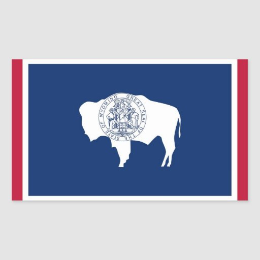 Rectangle sticker with Flag of Wyoming